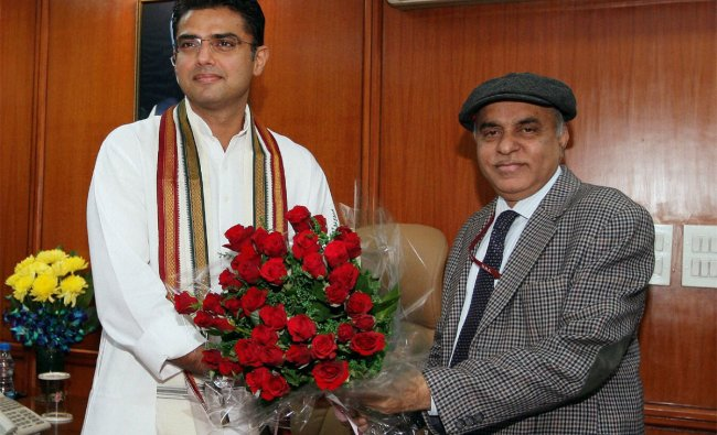 Sachin Pilot is greeted as he takes charge as MOS (Independent charge) for Corporate Affairs