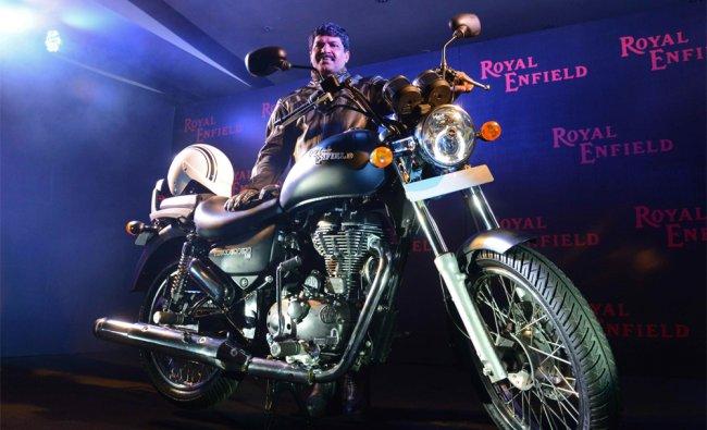 Royal Enfield motorcycles Senior Vice President Shaji Koshi poses with the new Thunderbird 500...