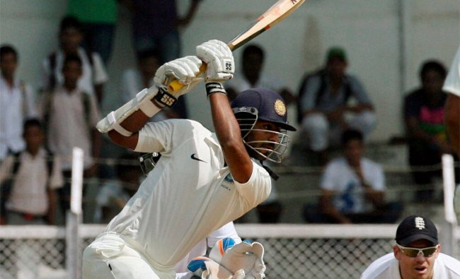 India A\'s Abhinav Mukund plays a shot to complete his half century against England