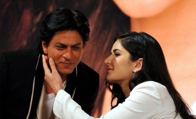 Shah Rukh Khan is embraced by Katrina Kaif Kaif during a promotional event
