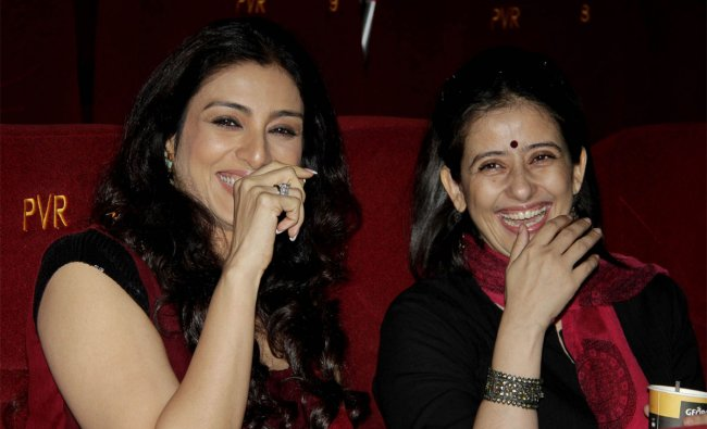 Indian Bollywood actresses Tabu (L) and Manisha Koirala pose during a promotional event