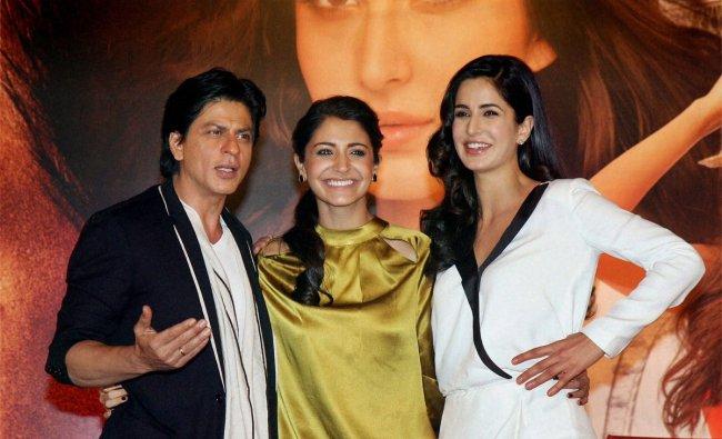 Actors Shahrukh Khan, Anushka Sharma and Katrina Kaif pose during a press conference