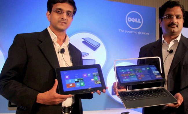 P Krishnakumar, J R Balaji of Dell India, during the launch of a new range of tablets, laptops