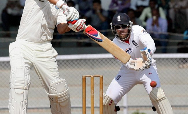 Yuvraj Singh of India A plays a shot against England during their practice match