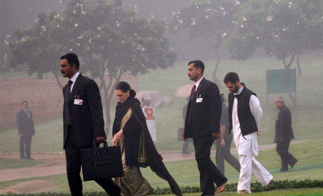 Sonia Gandhi and Rahul Gandhi leave after paying tribute to Indira Gandhi at Shakti Sthal