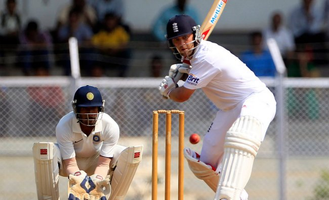 England\'s cricketer Jonathan Trott bats during a warm-up match against India A in Mumbai