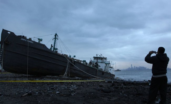 John B. Caddell, a 700-ton tanker that washed up on the shore during a storm surge caused by Sandy..