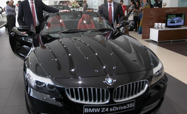 BMW group President Philipp Von Sahr (left) and Director Speed Motorwagen Divij Narain (right) at...
