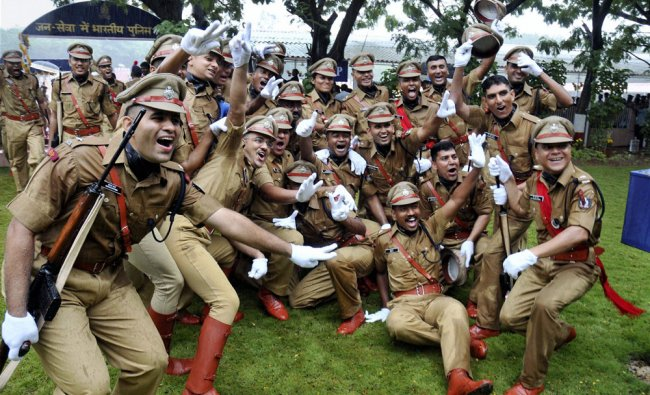 Regular recruits of the 64th batch of IPS jubilate after the passing out parade in Hyderabad on...