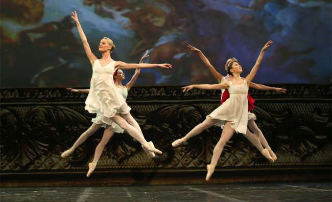 In this Thursday, Nov. 1, 2012 photo, dancers from Russian Bolshoi ballet perform during the Russian