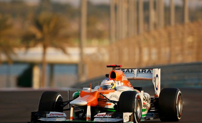Force India Formula One driver Paul di Resta of Britain drives during the second practice session