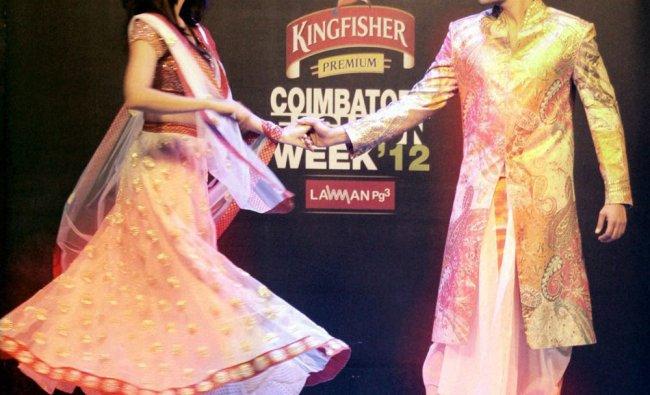Actors and former Mr and Miss India Ganesh Venkataraman and Tanvi Vyas at a Fashion week in...