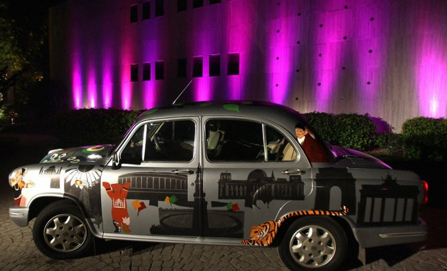 A painted ambassador car displayed at German Embassy during the concluding day of Indo-German Urban