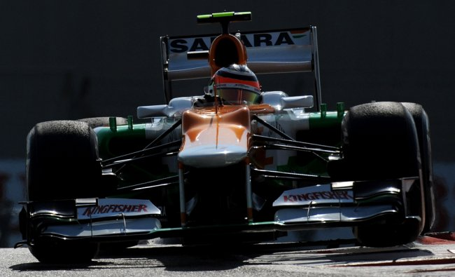 Force India\'s German driver Nico Hulkenberg drives during the third practice session...