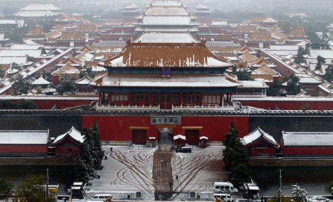 A view of snow-covered Forbidden City in Beijing, November 4, 2012. Beijing authorities released...
