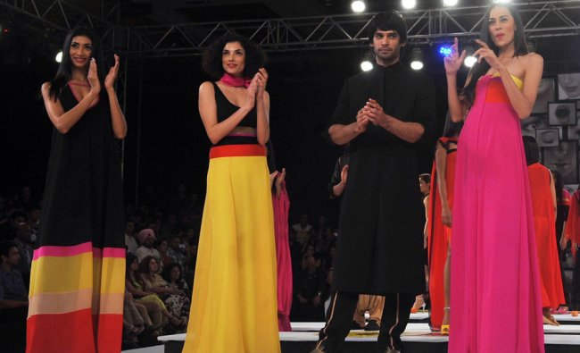 Models show creations by Wendell Rodricks at the 8th edition of Seagrams Blenders Pride Fashion...