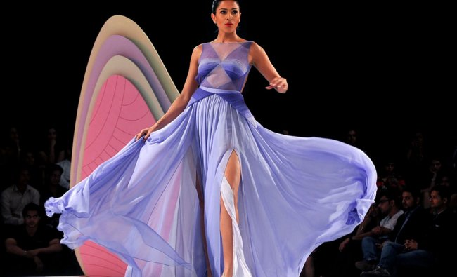 A model walks the ramp at the 8th edition of Seagrams Blenders Pride Fashion Tour 2012 in Mumbai...