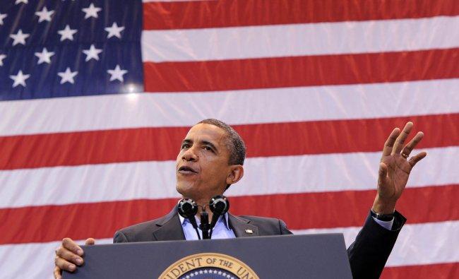 US President Barack Obama speaks during a campaign rally in Cincinnati, Ohio, on November 4, 2012.
