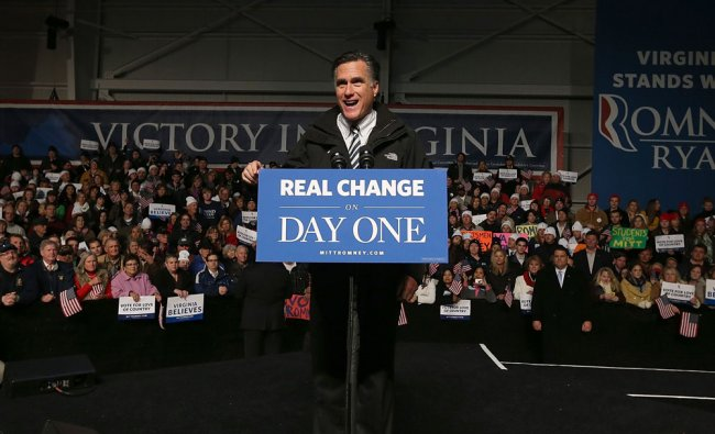 Republican presidential candidate, former Massachusetts Gov. Mitt Romney speaks during a campaign...