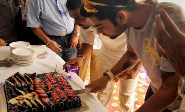 Cricketer Virat Kohli celebrates his birthday in Ghaziabad...