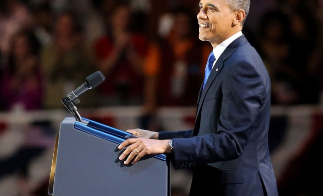 U.S. President Barack Obama delivers his victory speech after being reelected for a second term...