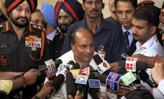 Defence Minister for A K Antony talking to the media at the international seminar and exposition