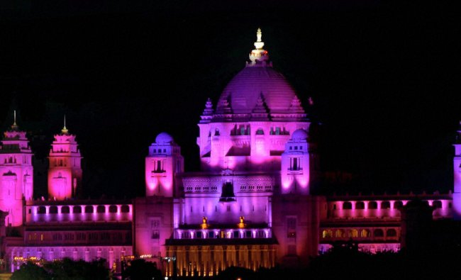 A view of illuminated Umaid Bhawan Palace during the birthday celebrations...