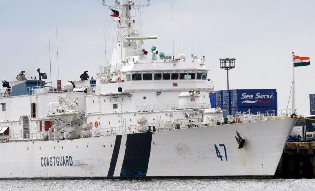 An Indian coastguard patrol ship Samrat with 60 crew is berth in a Manila pier