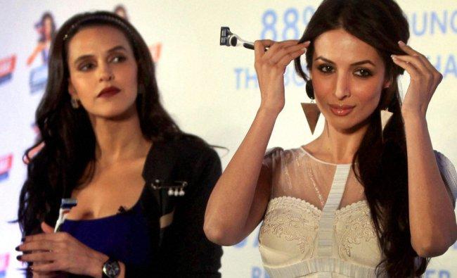 Malaika Arora Khan and Neha Dhupia during a promotional event in Mumbai