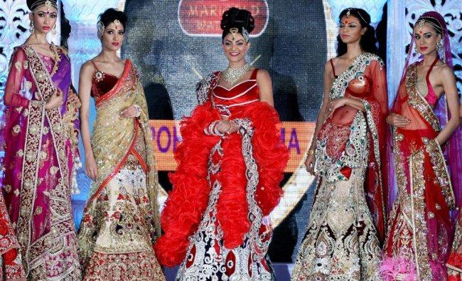 Actress Sushmita Sen with models at a fashion event in Mumbai....