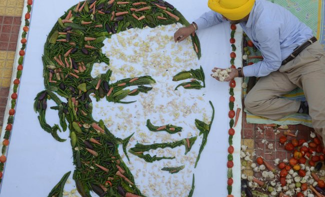 A portrait of US President Barack Obama made with vegetables in Amritsar...