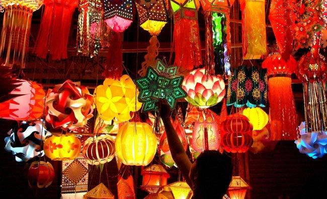 Lanterns on sale ahead of Diwali festival in Mumbai on Saturday...