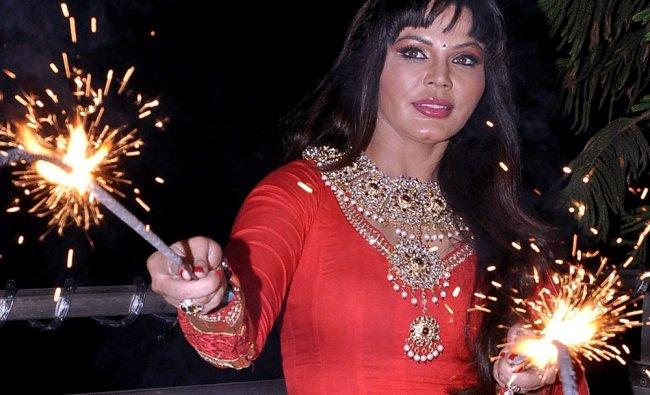 Bollywood actress Rakhi Sawant poses during a shoot for Diwali celebrations in Mumbai...