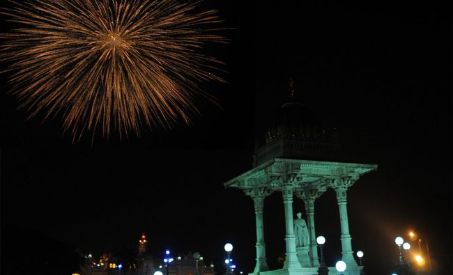 Crackers bursted on the eve of deepavali festival near Mysore Palace in Mysore...