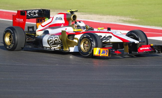 India\'s Narain Karthikeyan of Team Marussia F1 enters turn 1 during the first practice...
