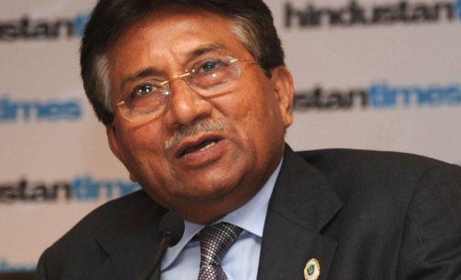 Former Pakistani president Pervez Musharraf addresses a press conference on the sidelines...