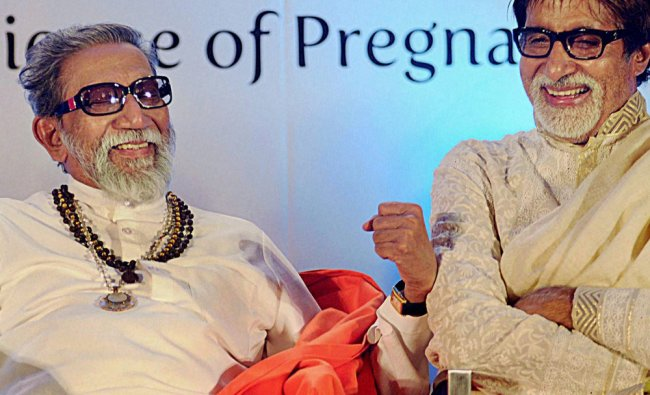 In this file photo Shiv Sena supremo Bal Thackeray is seen with Amitabh Bachchan ...