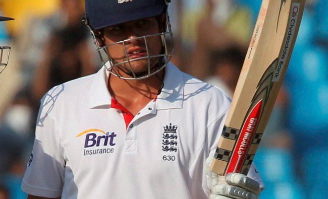 Alastair Cook celebrates his half century against India during Day 3 of the first test...