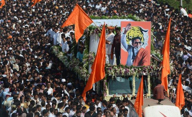 The cortege of Leader of Indian Hindu nationalist Shiv Sena party Bal Thackeray...