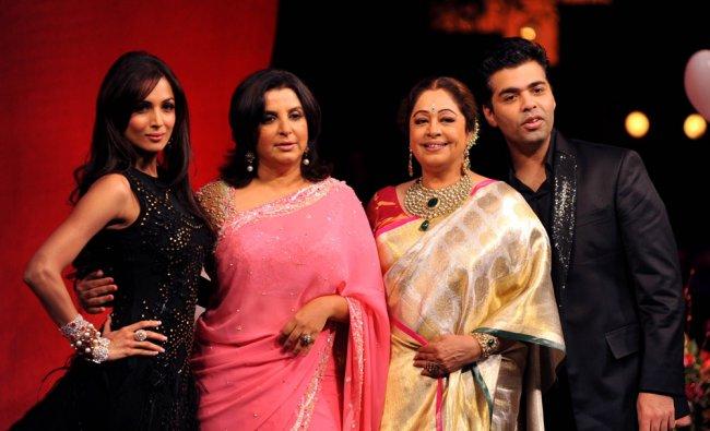 Indian Bollywood actress Malaika Arora Khan, Farah Khan, Kirron Kher and director Karan Johar....