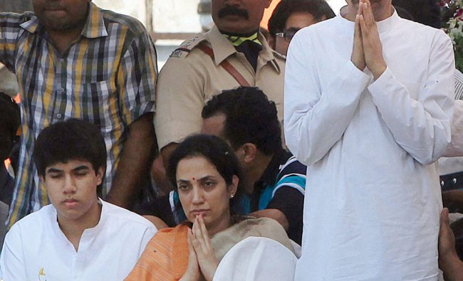 Shiv Sena Executive President Uddhav Thackeray along with his wife and son Tejas during the...