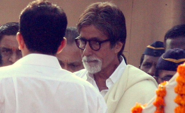 Indian Bollywood film actor Amitabh Bachchan attends the funeral of Hindu nationalist Shiv Sena...