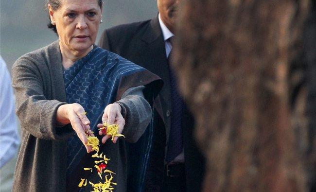 Congress President Sonia Gandhi paying tributes to Indira Gandhi on her 95th birth anniversary...