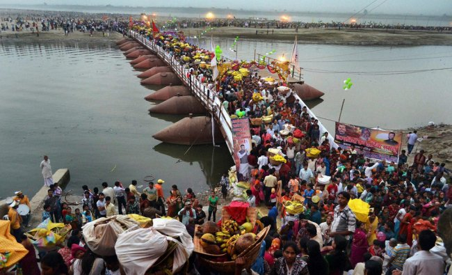 Devotees after worshiping Lord Sun at River Ganga during Chhat Puja