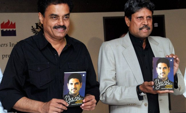 Legendary cricketers Kapil Dev (R) and Dilip Vengsarkar during the release of the book \'Yuvi\'...