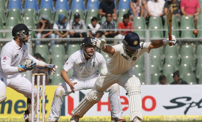 M S Dhoni plays a shot during the first day of second India-England Test match at Wankhade...