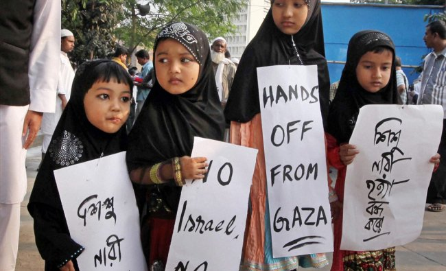 Children take part in a rally to protest against Israel\'s attack on Gaza, Kolkata...