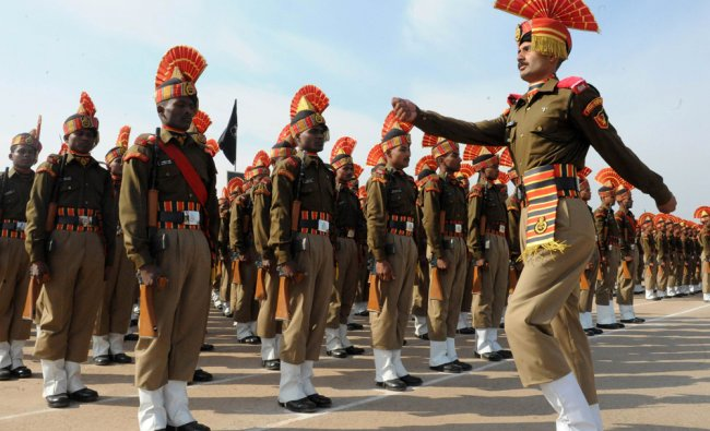 Indian Border Security Force soldiers take part in a passing out parade