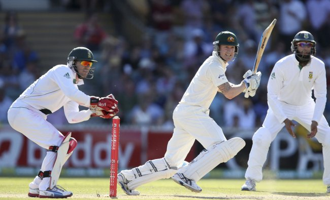 Michael Clarke plays a shot at the Adelaide cricket ground during the third day\'s play