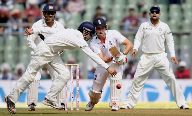 England\'s Nick Compton plays a shot during Day 2 of second India-England test match